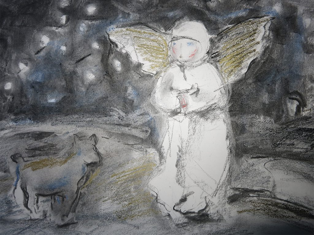 Winter Angel - charcoal